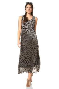 vivance chiffon-jurk met allover-animal-print beige