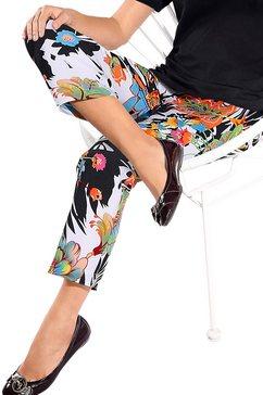 7-8-broek in bloemdessin zwart