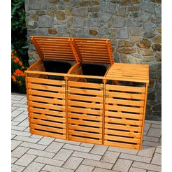 promadino kliko-ombouw voor 3x240 l van hout, bxdxh: 202x92x122 cm bruin