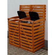 promadino kliko-ombouw voor 2x240 l van hout, bxdxh: 136x92x122 cm bruin