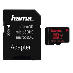 hama geheugenkaart microsdhc 32 gb uhs speed class 3 uhs-i 80mb-s »incl. adapter«