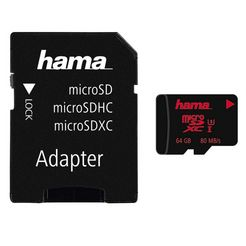 hama geheugenkaart microsdxc 64 gb uhs speed class 3 uhs-i80 mb-s »incl. adapter op sd-kaart« zwart