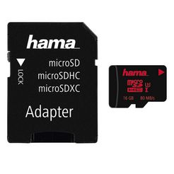 hama geheugenkaart microsdhc 16 gb uhs speed class 3 uhs-i 80mb-s »incl. adapter« zwart