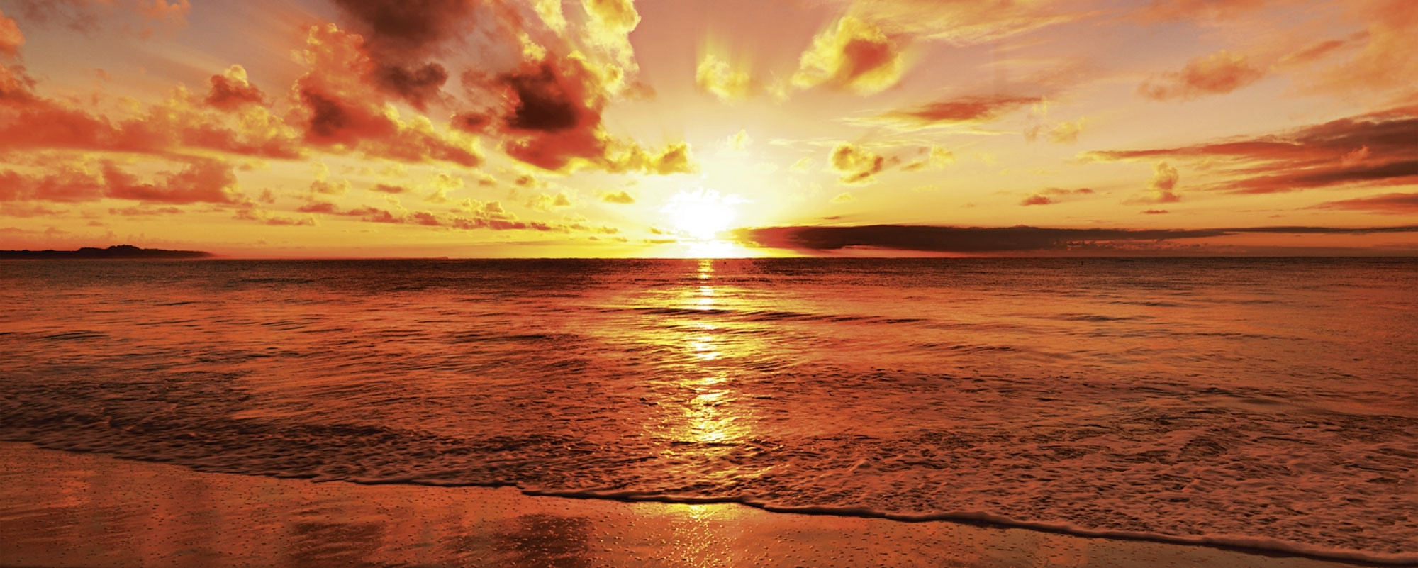 home affaire glazen artprint idizimage mooie tropische zonsondergang aan het strand 125x50. Black Bedroom Furniture Sets. Home Design Ideas