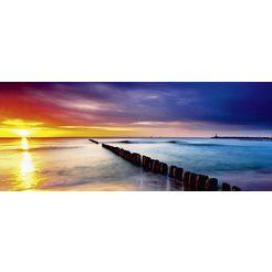 home affaire glazen artprint »ttstudio: oostzee met mooie zonsopkomst«, 125x50 cm rood