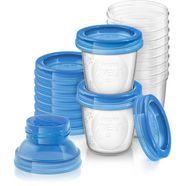 philips avent opbergsysteem scf618-10 herbruikbare beker voor moedermelk inclusief deksel en adapter (set, 10-delig) wit