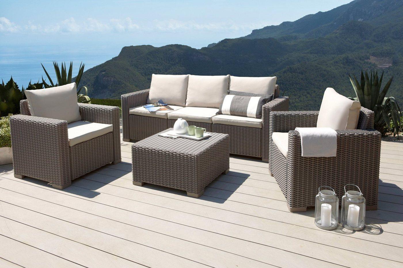 BEST Loungeset Mombasa, 3-zitsbank, 2 stoelen en 1 tafel 68x68 cm, kunststof