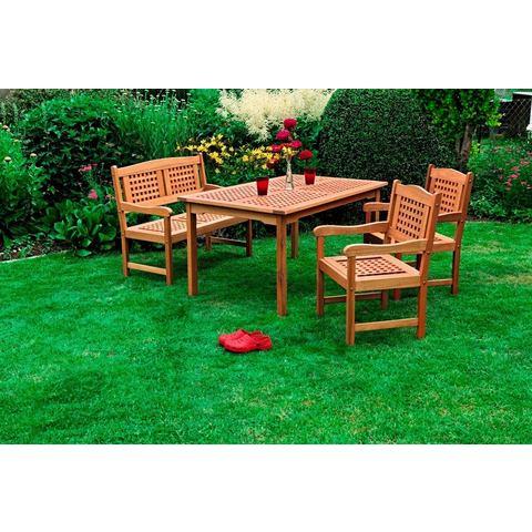 Tuinmeubelset Lima, 2 stoelen, bank, tafel 150 x 90 cm, hout, bruin