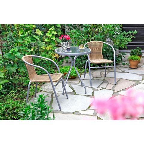 MERXX Tuinmeubelset Alassio, 3 dlg., 2 stoelen, tafelØ60 cm, poly-rotan, staal