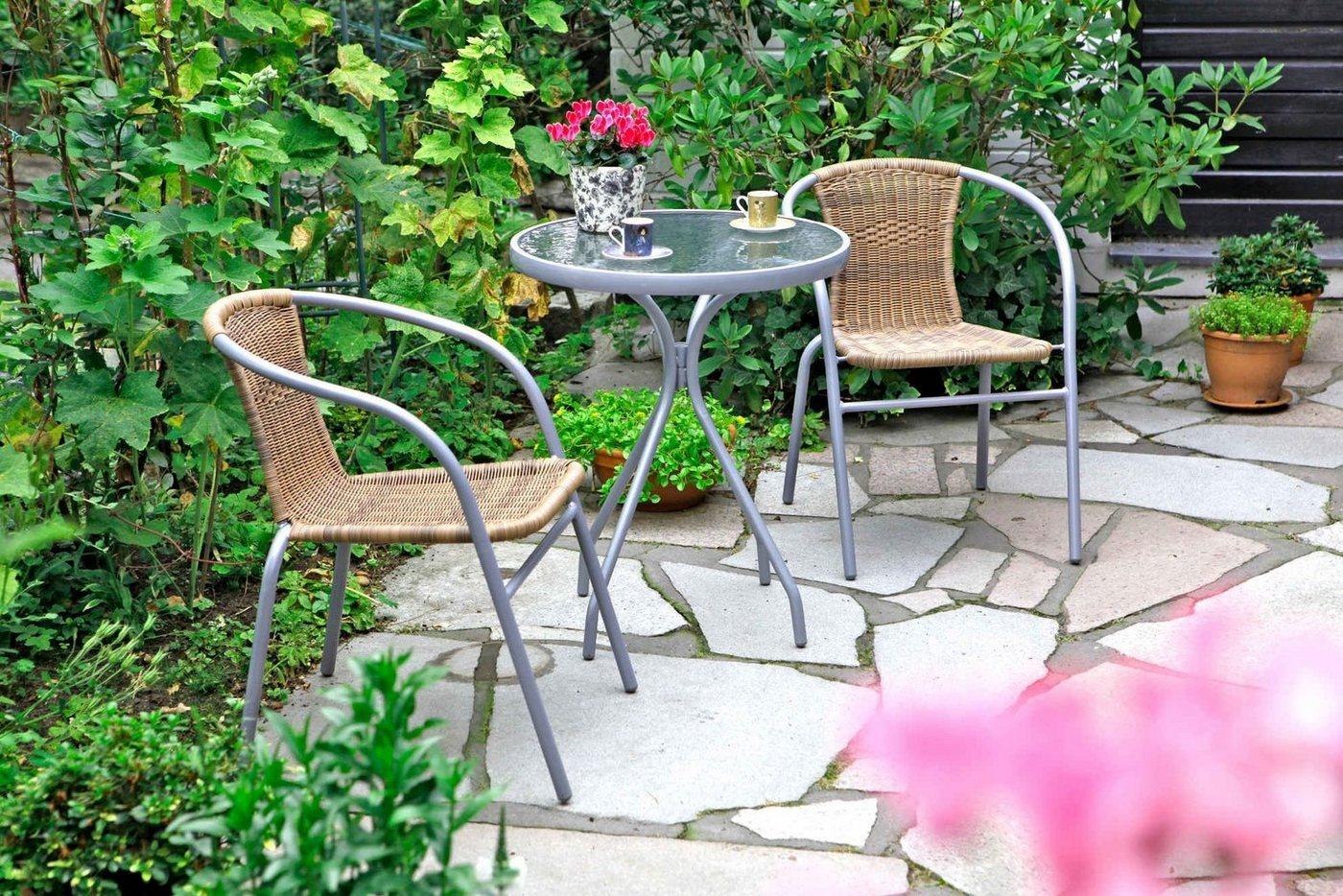 Tuinmeubelset Alassio, 2 stoelen, tafelØ60 cm, poly-rotan, staal