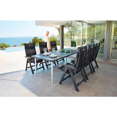 BEST Tuinmeubelset Tavolo, 13 dlg., 6 stoelen, tafel 160-220 cm, kunststof, antraciet