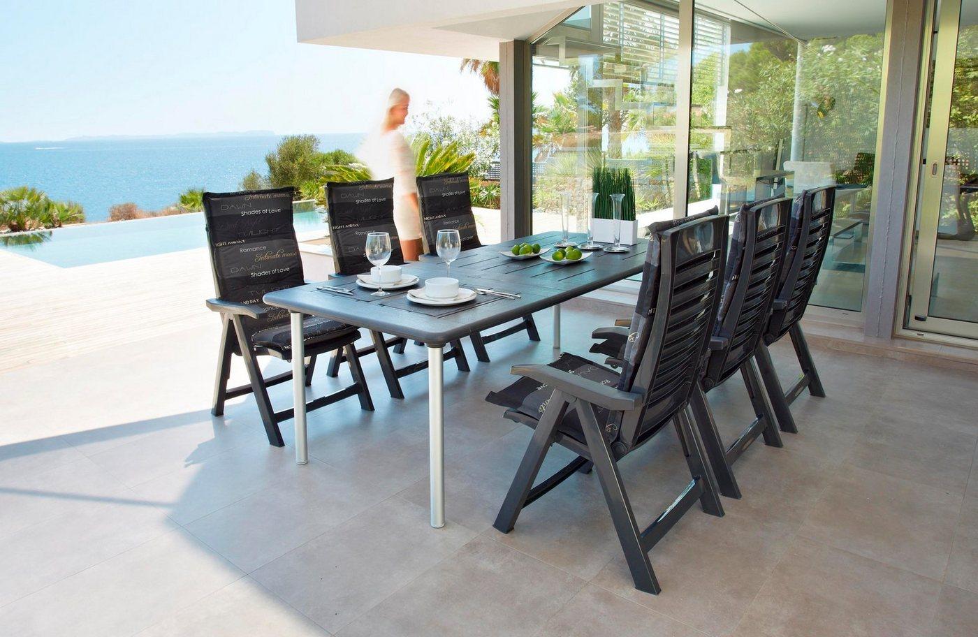 BEST Tuinmeubelset Tavolo, 6 stoelen, tafel 160-220 cm, kunststof, antraciet
