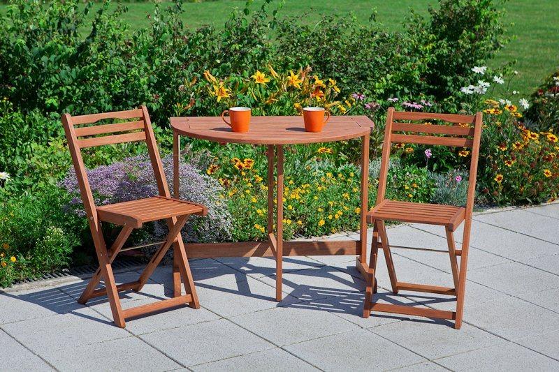 Tuinmeubelset Porto, 2 klapstoelen, klaptafel60x90 cm, eucalyptushout, bruin
