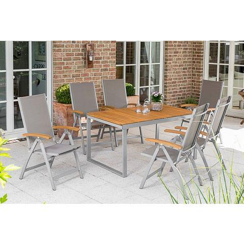 MERXX Tuinmeubelset Naxos, 6 stoelen, tafel, 140-200 cm, aluminium/textiel/hout