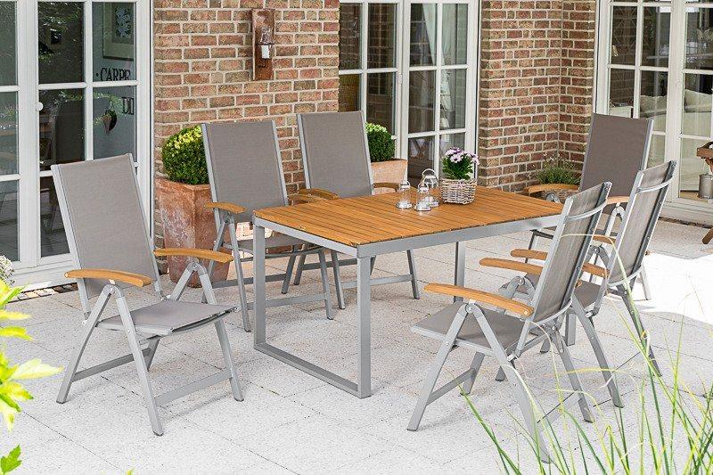 Tuinmeubelset Naxos, 6 stoelen, tafel, 140-200 cm, aluminium/textiel/hout