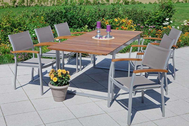 Tuinmeubelset Naxos, 6 stoelen, tafel 150-200 cm, aluminium/textiel/hout
