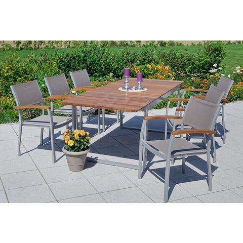 Tuinmeubelset Naxos, 7 dlg., 6 stoelen, tafel 150-200 cm, aluminium/textiel/hout