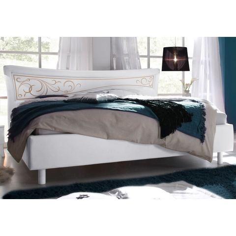 Bed met imitatieleren bekleding wit Lc 595983