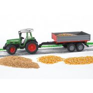 bruder speelgoed-tractor fendt 209 s + aanhanger met losse klep - groen made in germany groen