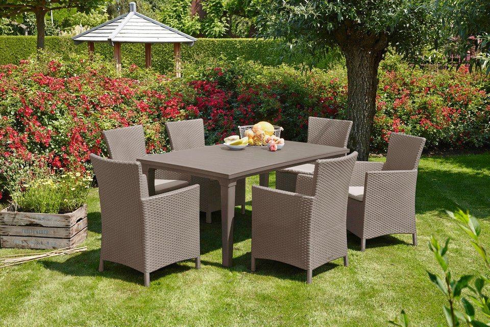 Tuinmeubelset Napoli, 6 stoelen, tafel 165x94 cm, kunststof