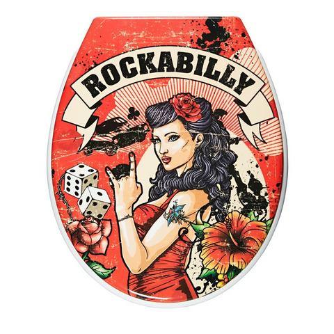 Badkameraccessoires Toiletzitting Rockabilly 556706 rood