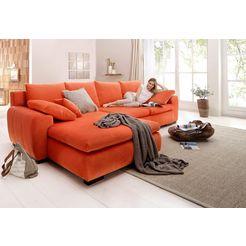 home affaire hoekbank met houten onderstel oranje