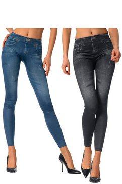 legging in geprinte jeans-look (set van 2) blauw