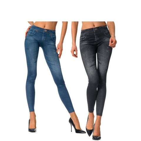 Slim-jegging in jeans-look set van 2