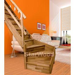 starwood ruimtebesparende trap »rhodos«, gesloten treden, 1-4 links draaiend, houten leuning links 2014