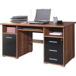 germania pc-bureau 0484 met uittrekplank voor het toetsenbord en afsluitbare lade zwart