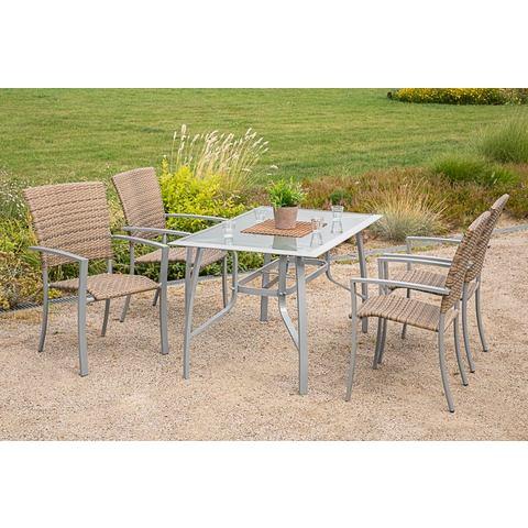 Tuinmeubelset Savonna, 4 stoelen, tafel 135x80 cm, aluminium/kunststof, beige/bruin