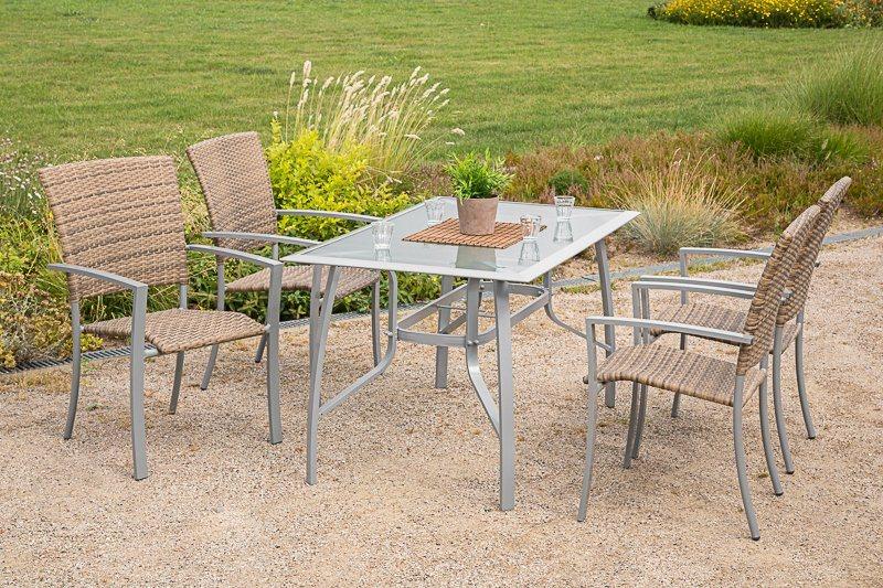 Tuinmeubelset »Savonna«, 4 stoelen, tafel 135x80 cm, aluminium/kunststof, beige/bruin