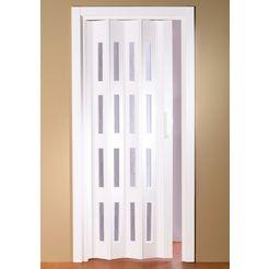 kunststof vouwdeur bxh: 88,5x202 cm, inkortbaar, ramen met golvende structuur wit