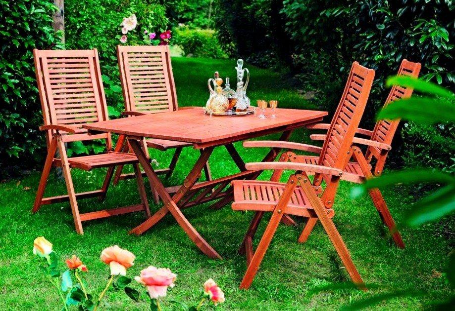 MERXX set: Tuinmeubelset Cordoba, 5 dlg., 4 stoelen, tafel 110-160 cm,eucalyptus