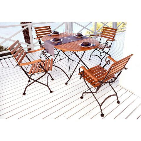 voordeelset: Tuinmeubelset Kasteeltuin, 5-dlg 4 stoelen,ovale tafel 140x90 cm, staal/eucalyptushout
