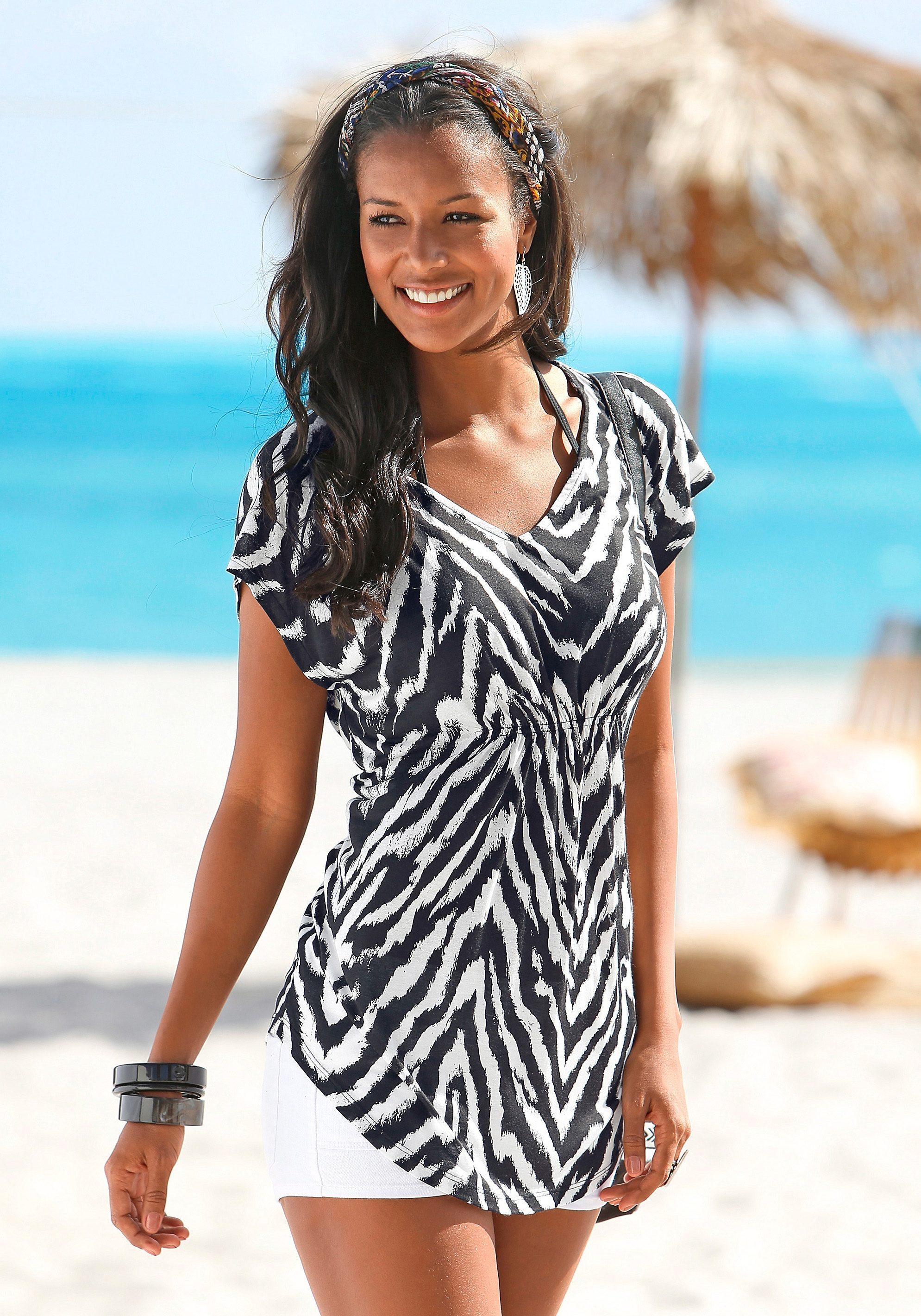 ... V-hals, LASCANA Shirt in lang model, Beachtime T-shirt, set van 2,  LASCANA lang shirt, LASCANA T-shirt, BEACHTIME T-shirt in set van 2