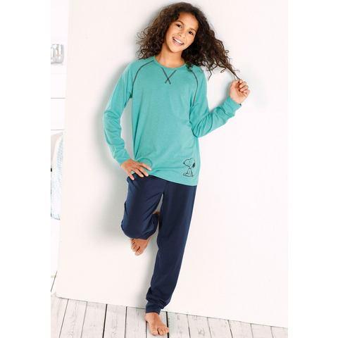 SNOOPY Lange pyjama met contrastnaden