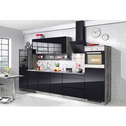 held moebel keukenblok met elektrische apparaten »virginia«, breedte 290cm zwart