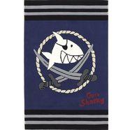 kindervloerkleed, capt'n sharky, »sh-2937-01«, handgetuft, gesneden relifpatroon blauw