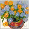 artland print op glas bloemen in pot i (1 stuk) oranje