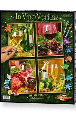 schipper schilderen op nummer in vino veritas multicolor