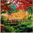 artland print op glas een brug in japanse tuin (1 stuk) groen