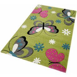 merinos vloerkleed voor de kinderkamer gartempe vlinders, met de hand gesneden relifpatroon groen