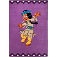 yakari vloerkleed voor de kinderkamer regenboog vrolijk met de hand gesneden relifpatroon, kinderkamer paars