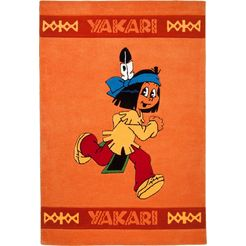 yakari vloerkleed voor de kinderkamer de blije yakari met de hand gesneden relifpatroon, kinderkamer oranje