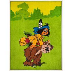 yakari vloerkleed voor de kinderkamer yakari en de beer groen
