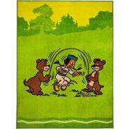yakari vloerkleed voor de kinderkamer regenboog en beren randen in kleur bijpassend omboord (afgehecht), kinderkamer groen