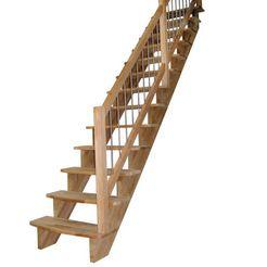 starwood massief houten trap »lindos«, b: 100 cm, rechte uitvoering, leuning rechts beige
