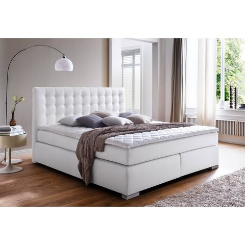 MEISE Boxspring met stiksels 7 zones pocketvering H2 wit Meise 877216