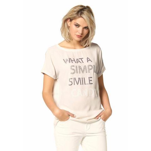LAURA SCOTT Shirt met statement-opschrift